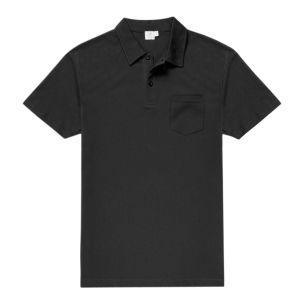 253915d5de9 Black Cotton Short Sleeve Riviera Polo