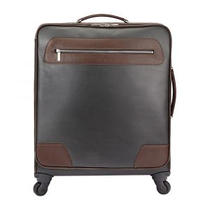Brown and Pewter Leather Wheeled Goldington Suitcase