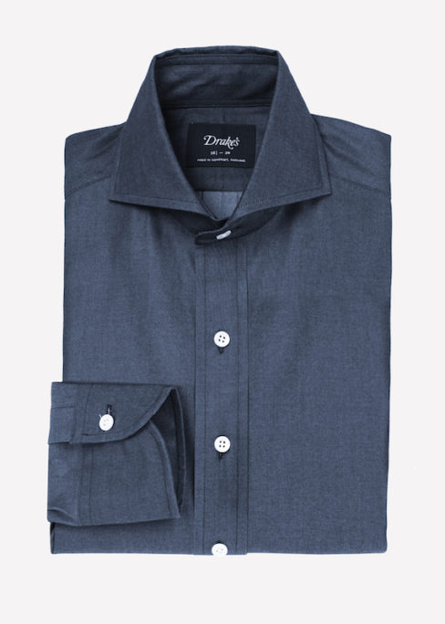 fb728b75ff4 Drake s for The Rake  The Cutaway Collar Denim Shirts