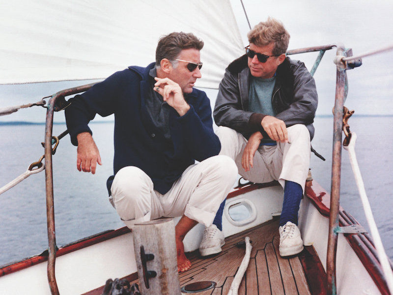 d73df2e396 President Kennedy and his brother-in-law Peter Lawford aboard the United  States Coast