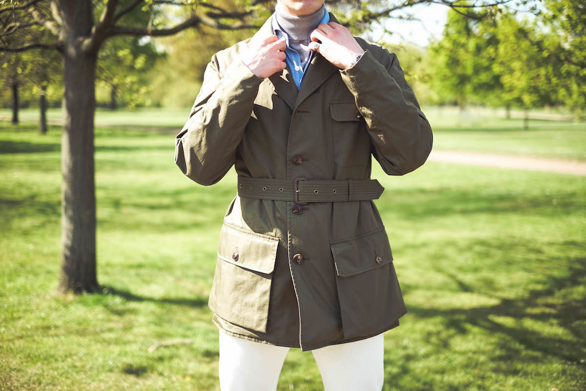 e5135124d09cd Shooter Jacket by Grenfell x The Rake; powder blue denim shirt, Drake's for  The Rake; grey roll neck, Sunspel; white jeans, Dunhill; Chelsea boots, ...