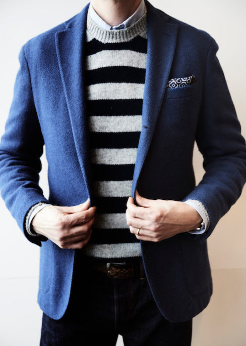 84de8615f8a This Boglioli jacket paired with the striped crew-neck sweater from  Connolly take nothing away