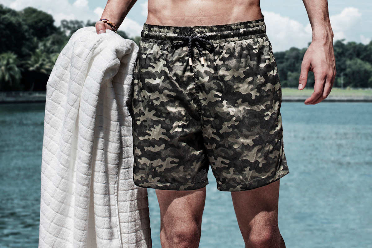 b82f67998cb24 Vilebrequin's green camouflage swim shorts, designed exclusively for The  Rake.