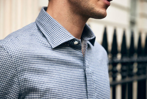269e993afc Salvatore Piccolo s blue and white check shirt. Photograph by James Munro.