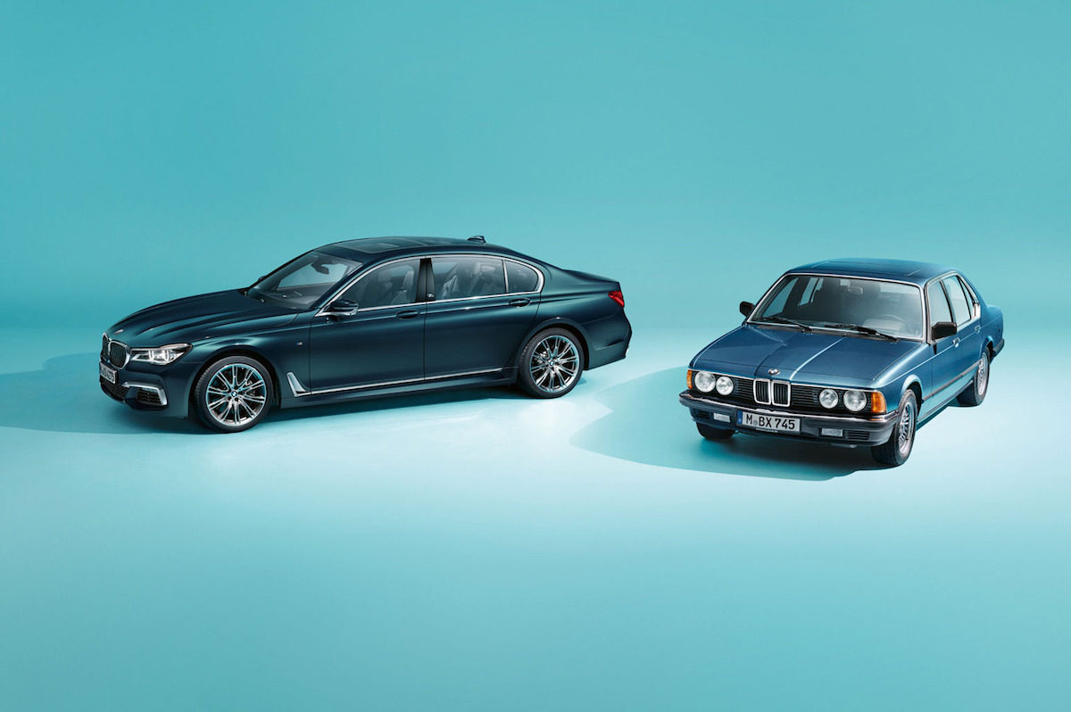 The 2017 BMW 7 Series Edition 40 Jahre Alongside Original 1977 E23