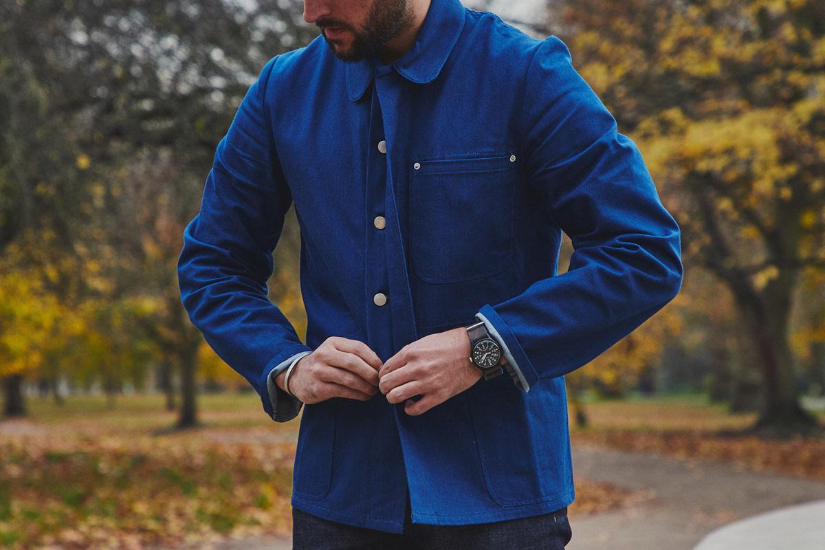 Men/'s Railroad Denim Jacket Vintage Striped Work Jeans Casual Outwear Coat Tops