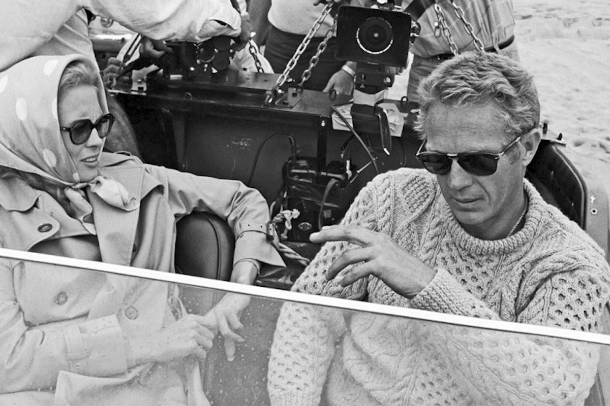 529f3512fc9c68 Steve McQueen, pictured here with Faye Dunaway, wears a vintage cable knit  sweater paired with his signature Persol frames in The Thomas Crown Affair  (1968) ...
