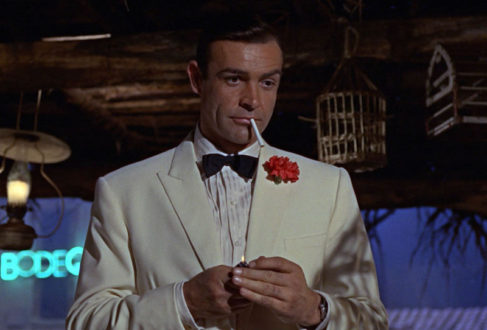 7d9c558b2f5e Connery s infamous terrycloth playsuit. Connery sports a cream dinner  jacket