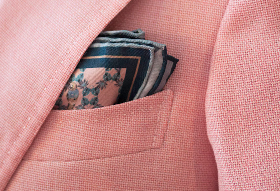 Light Pink Dancer Print Silk Pocket Square Mess of Blues YZ0Go