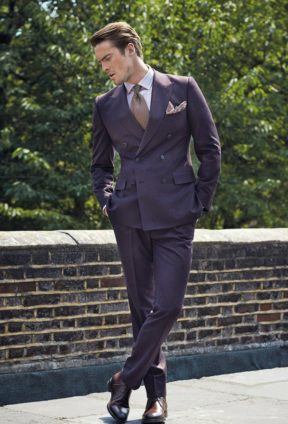 2af88efd541b6 Aubergine flannel double-breasted suit, Gieves & Hawkes; lilac cotton  flannel shirt,